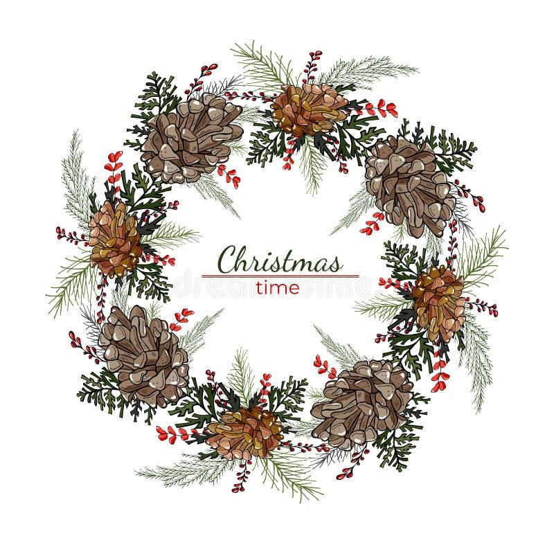 Rund krans för jul med kottar och att sörja filialer royaltyfri illustrationer