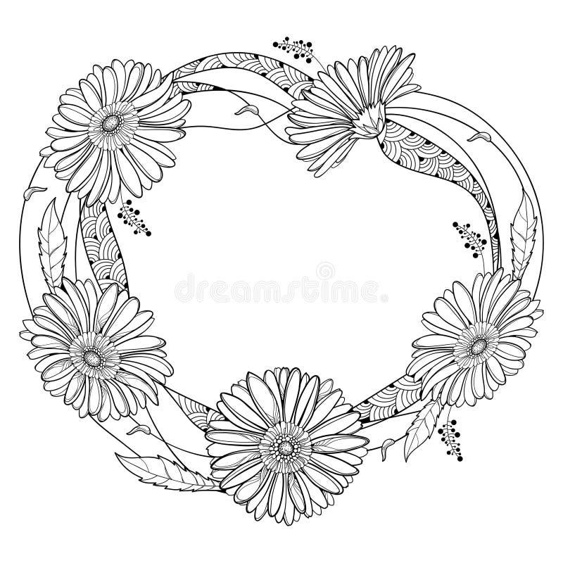 Rund krans för vektor med översiktsgerberaen eller Gerber blomma och blad i svart som isoleras på vit bakgrund samla ihop gerbera vektor illustrationer