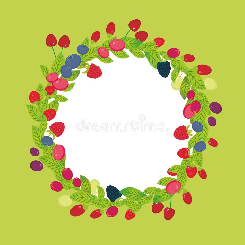Rund krans med för Goji för Cherry Strawberry Raspberry Blackberry Blueberry tranbärlingon nya saftiga bär druva på gräsplanbac stock illustrationer