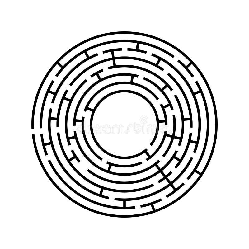 rund labyrint En intressant och användbar lek för barn och vuxna människor Enkel plan vektorillustration som isoleras på den vita vektor illustrationer