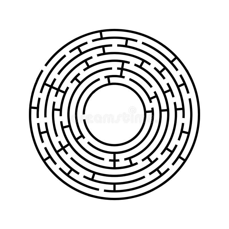 rund labyrint En intressant och användbar lek för barn och vuxna människor Enkel plan vektorillustration som isoleras på den vita royaltyfri illustrationer