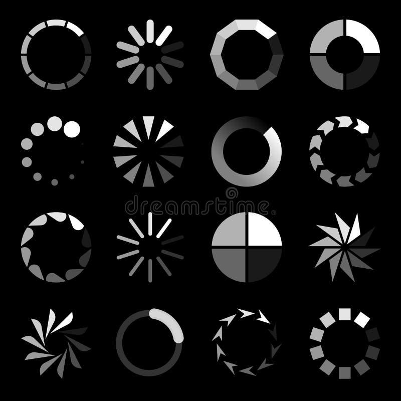 Rund laddare Progressivt fungera som buffert för väntannedladdninginternet laddar upp uppsättningen för symbolen för websitemanöv stock illustrationer