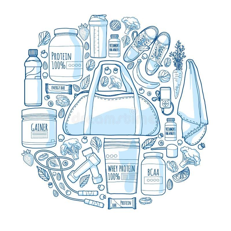 Rund linjär design av banret om sportar för en sund livsstil Modell av sportnäring och tillägg A royaltyfri illustrationer