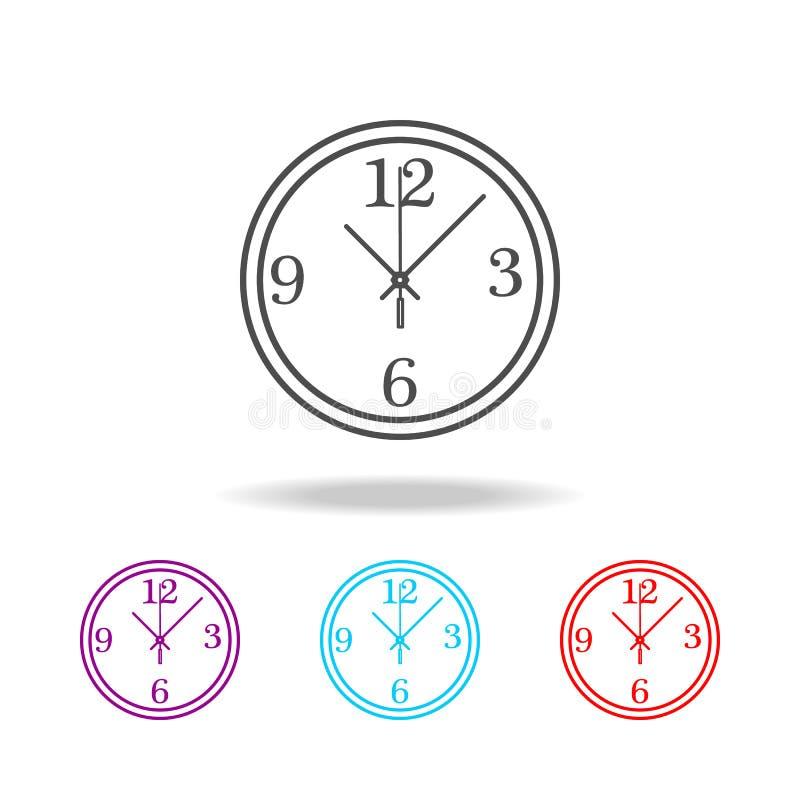 Rund linje för väggklocka Beståndsdelar av klockan i mång- kulöra symboler Högvärdig kvalitets- symbol för grafisk design Enkel s stock illustrationer