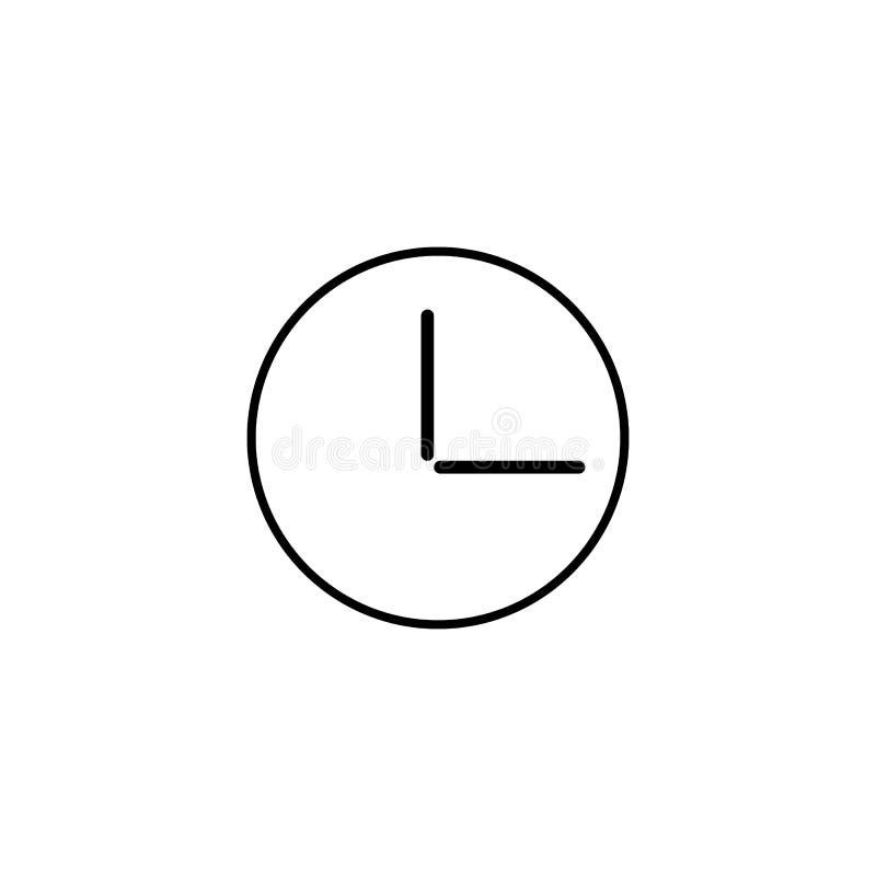 Rund linje symbol, översiktsvektortecken, linjär stilpictogram som för väggklocka isoleras på vit Kontorsklockasymbol, logo stock illustrationer