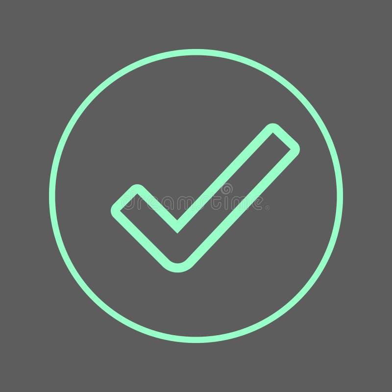 Rund linje symbol för kontrollfläck Godkänt runt färgrikt tecken Plant stilvektorsymbol royaltyfri illustrationer