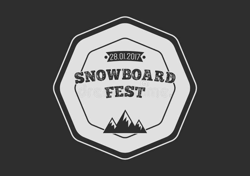 Rund logo för Snowboardtappning på svart bakgrund stock illustrationer