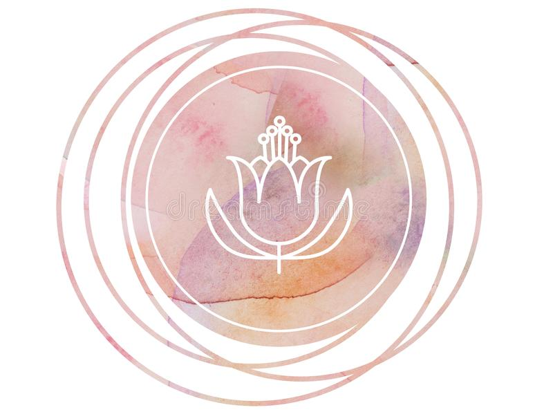 Rund lotusblomma för symbol för vattenfärgmandalameditation stock illustrationer