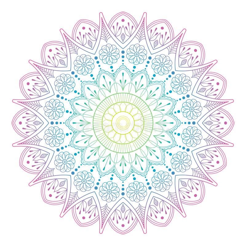 Rund lutningmandala på vit isolerad bakgrund Mandala med blom- modeller Yogamall royaltyfri illustrationer