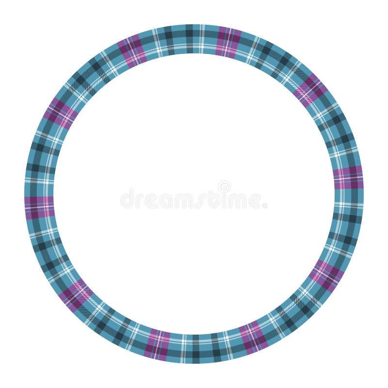 Rund mall för design för modell för ramvektortappning Textur för tyg för pläd för cirkelgränsdesigner Skotsk tartanbakgrund för royaltyfri illustrationer