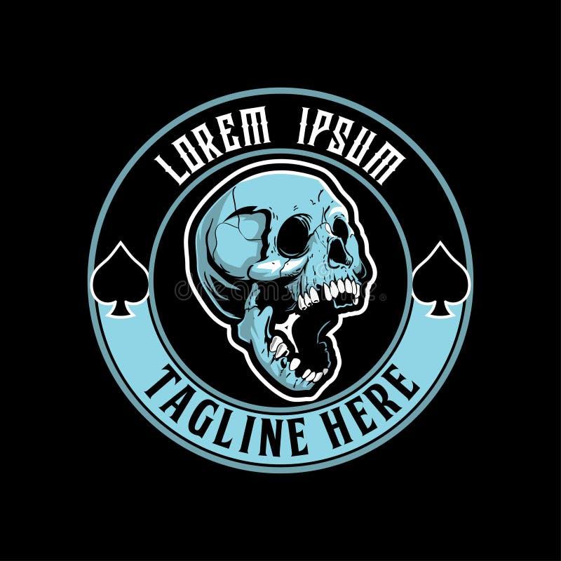 Rund mall för mänsklig för skallehuvudvektor logo för emblem royaltyfri illustrationer