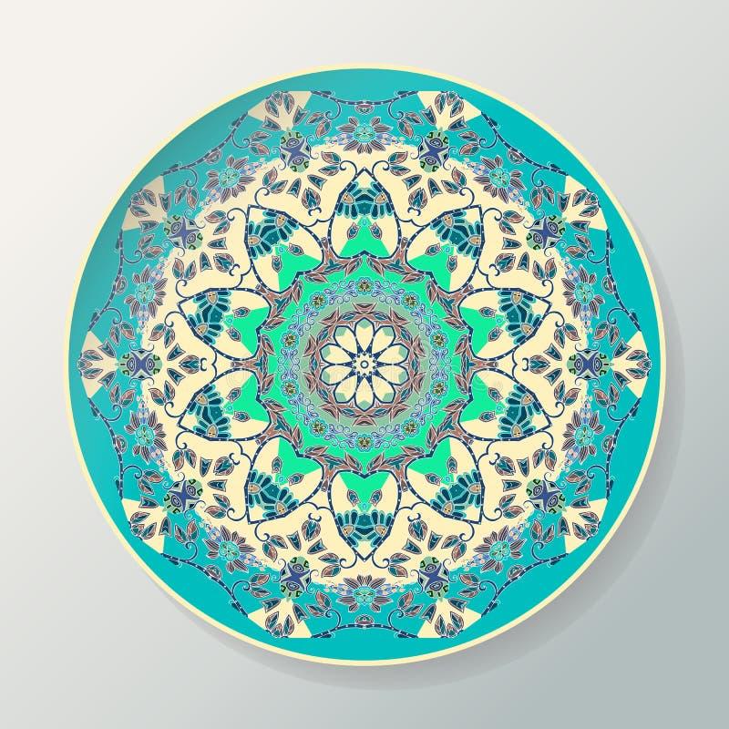 Rund mandalamodell Dekorativ keramisk platta för vektor med prydnaden i etnisk stil stock illustrationer