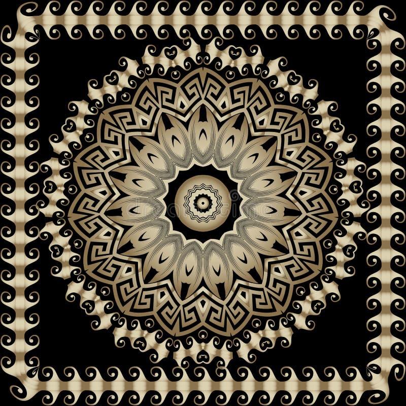 Rund mandalamodell för grekisk dekorativ vektor blom- utsmyckat för bakgrund Den geometriska grekiska tangenten slingrar den forn vektor illustrationer