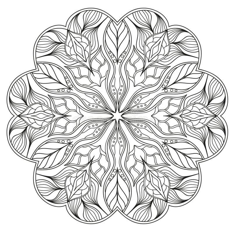 Rund Mandalamodell med hand-drog dekorativa beståndsdelar royaltyfri illustrationer