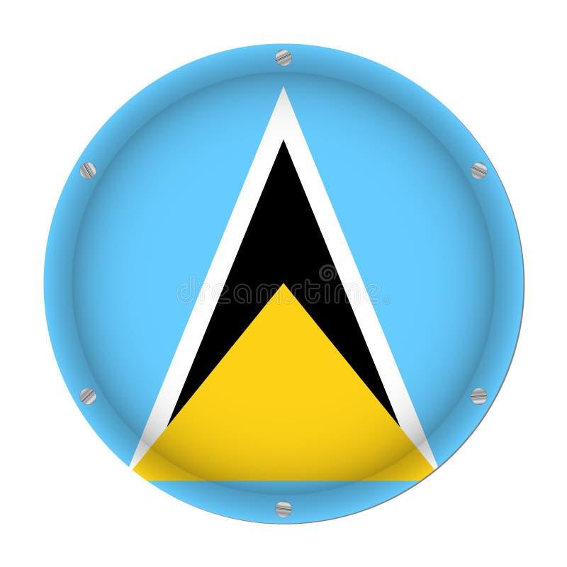 Rund metallisk flagga av St Lucia med skruvar vektor illustrationer