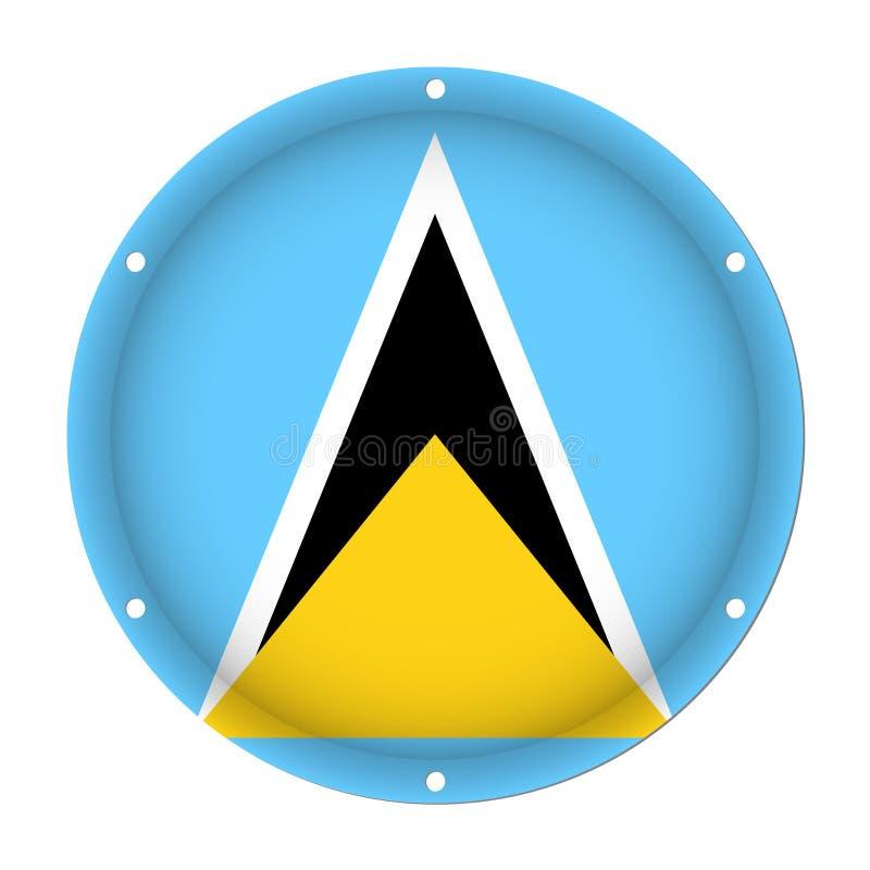 Rund metallisk flagga - St Lucia med skruvhål royaltyfri illustrationer