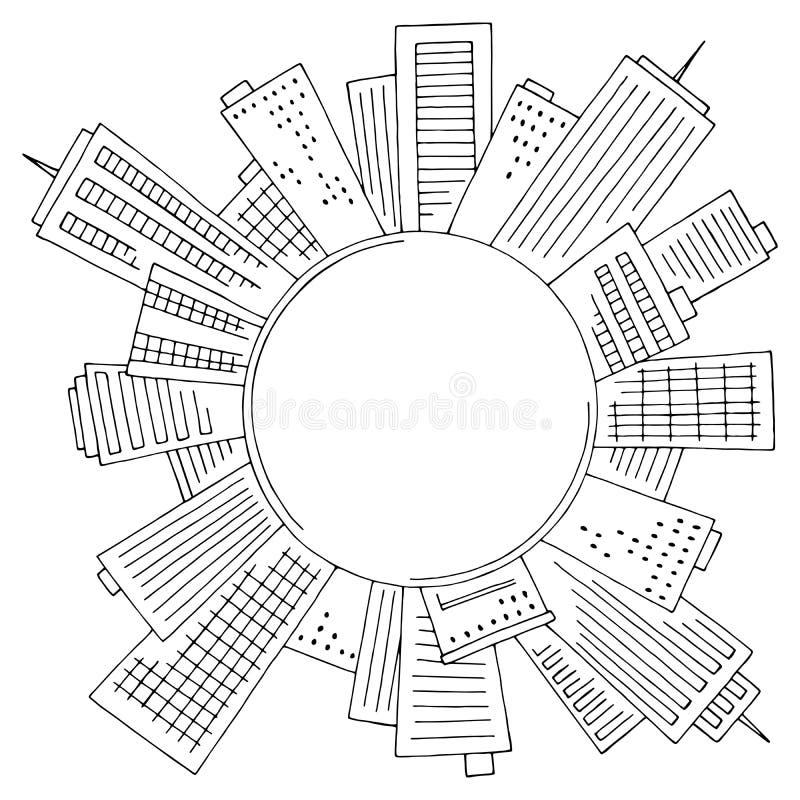 Rund mittpunkt i den svarta svarta vita cityscape-skyltningsvektorn för illustration royaltyfri illustrationer