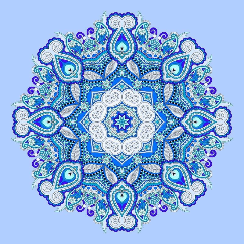 Rund modell för blå härlig tappning av arabesques stock illustrationer