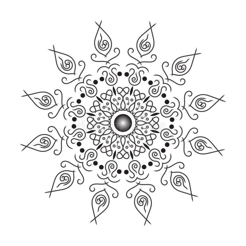 Rund modell i form av mandalaen f?r henna, Mehndi, tatuering, garnering Dekorativ prydnad i etnisk orientalisk stil f?rgl?ggning royaltyfri illustrationer