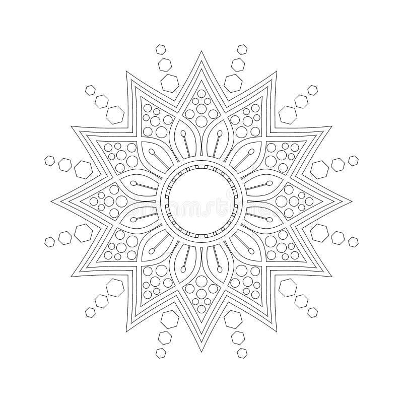 Rund modell i form av mandalaen Hinduiskt buddha, henna, Mehndi, tatuering, garnering, islam, arabiska, indier, turk, Pakistan, c vektor illustrationer