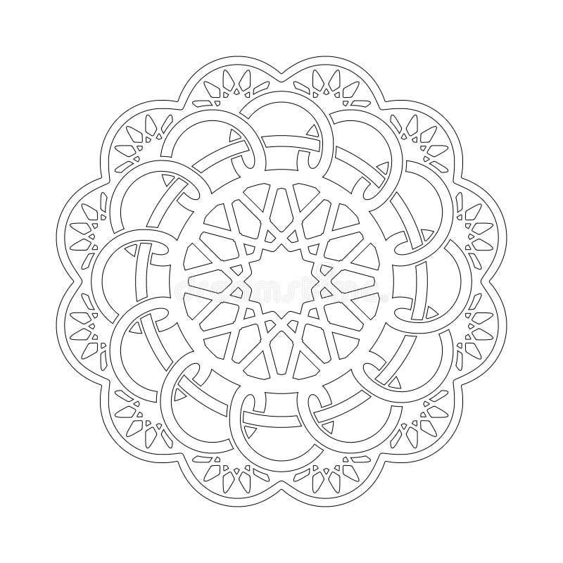 Rund modell i form av mandalaen Hinduiskt buddha, henna, Mehndi, tatuering, garnering, islam, arabiska, indier, turk, Pakistan, c royaltyfri illustrationer