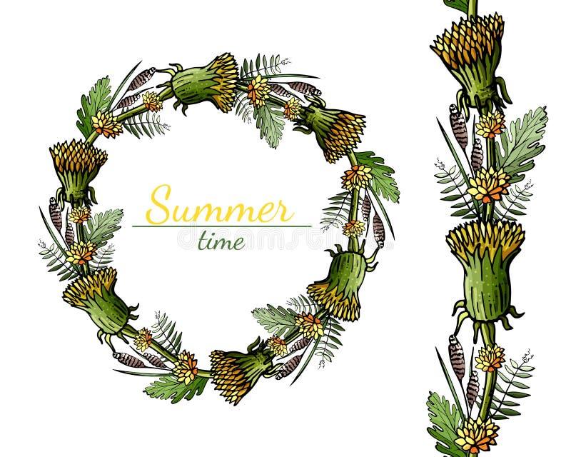Rund och sömlös modell av sommarblommor på en vit bakgrund stock illustrationer
