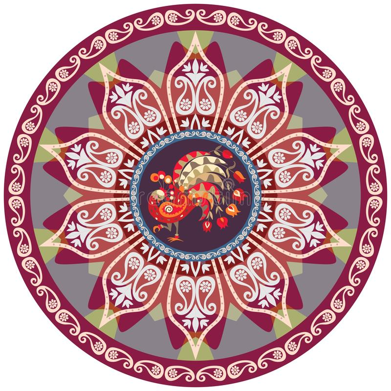 Rund ottomanmodell med påfågel- och blommamandalaen designperson som tillhör en etnisk minoritet Indier perser, turkiska bevekels royaltyfri illustrationer