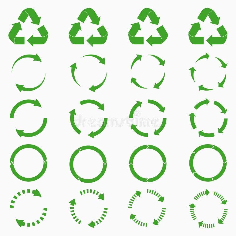 Rund piluppsättning Den gröna cirkeln återanvänder symbolssamlingar vektor royaltyfri illustrationer
