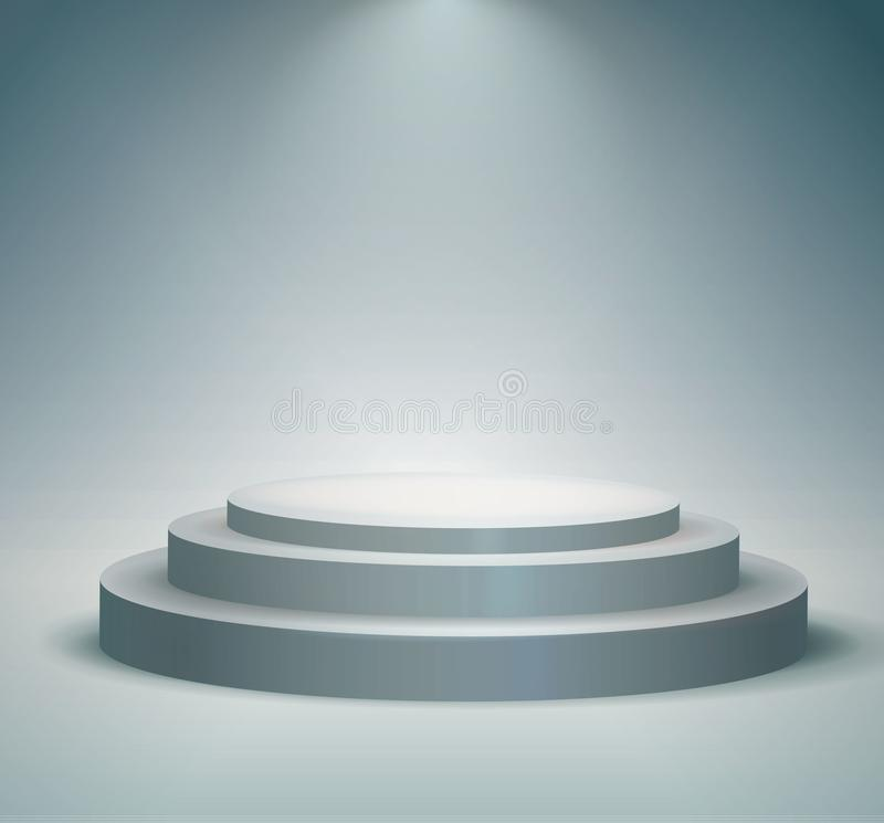 Rund podium, sockel eller plattform som är upplysta vid strålkastare på vit bakgrund Etapp med sceniska ljus också vektor för cor royaltyfri fotografi