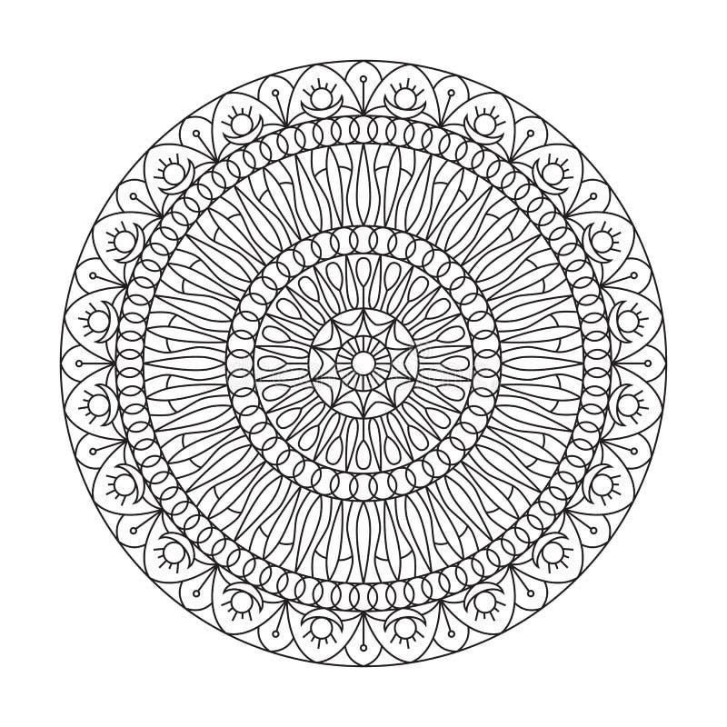 Rund prydnad Kombinationen av geometri och hand drog modeller Gjort i stilen av linjen konst stock illustrationer