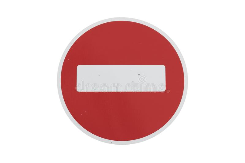 Rund röd vägmärke` ingen tillträdes` som isoleras på vit royaltyfri foto