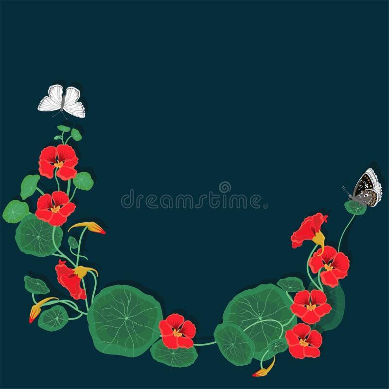 Rund ram av indiankrasseblommor med fjärilar kantlagrar l?ter vara vektorn f?r oakbandmallen vektor illustrationer