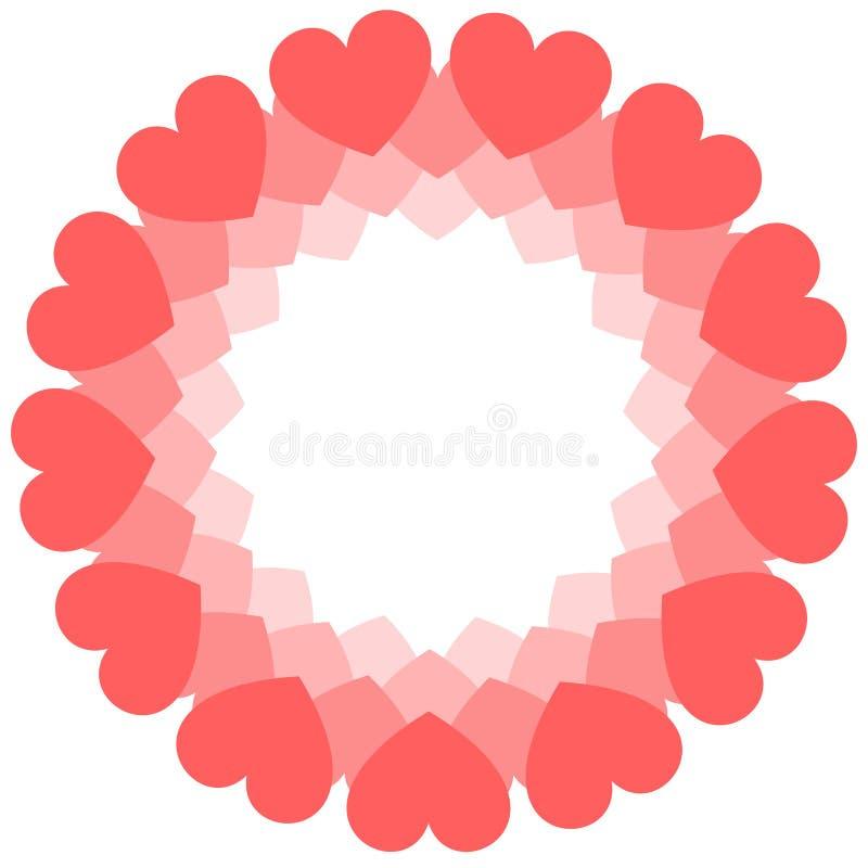 Rund ram av korallhjärtor Valentin kort för daghälsning eller bröllopinbjudan stock illustrationer