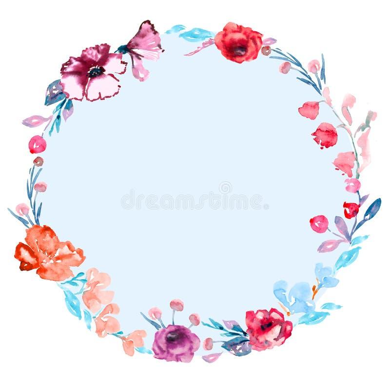 Rund ram av rosblommor och lös malva, blåttsidor och bär royaltyfri illustrationer
