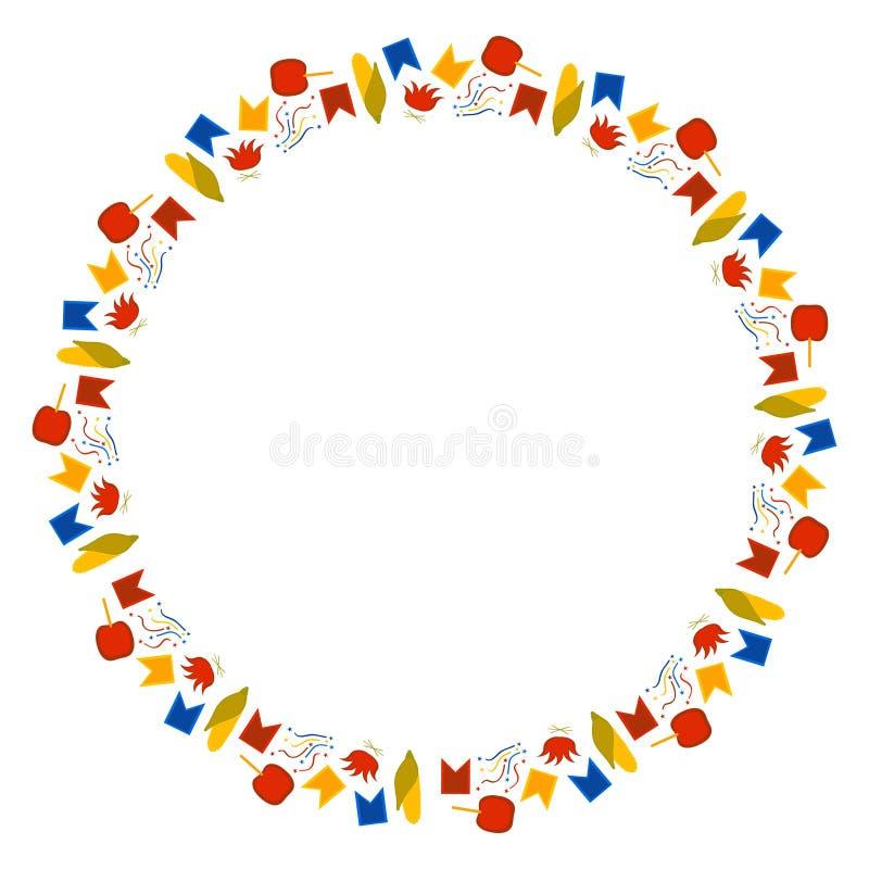 Rund ram av små delar för den brasilianska festivalen i Juni Festa Junina Flaggor, konfettier, havre, karamelläpplen och brasor p stock illustrationer
