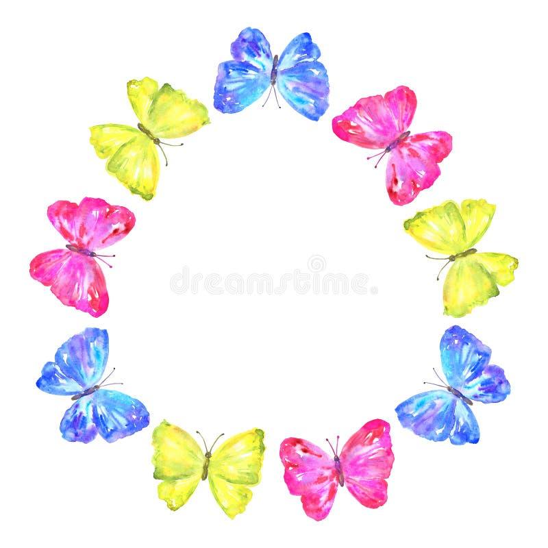 rund ram Färgrika fjärilar: gult rosa, blått Hand dragen vattenf?rgillustration bakgrund isolerad white stock illustrationer