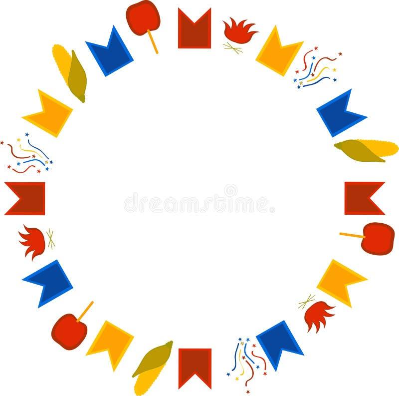 Rund ram för den Brasilien Juni festivalen Flaggor, konfettier, havre, karamelläpplen och brasor på en vit bakgrund royaltyfri illustrationer