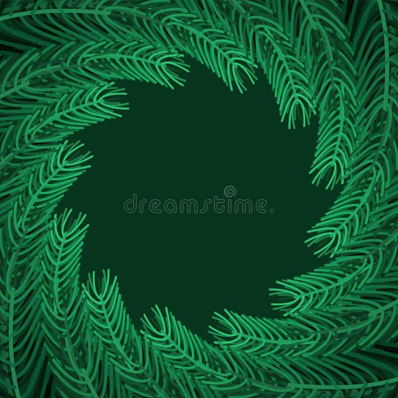 Rund ram för julgranfilialer Xmas-bakgrundsfilial av p royaltyfri illustrationer