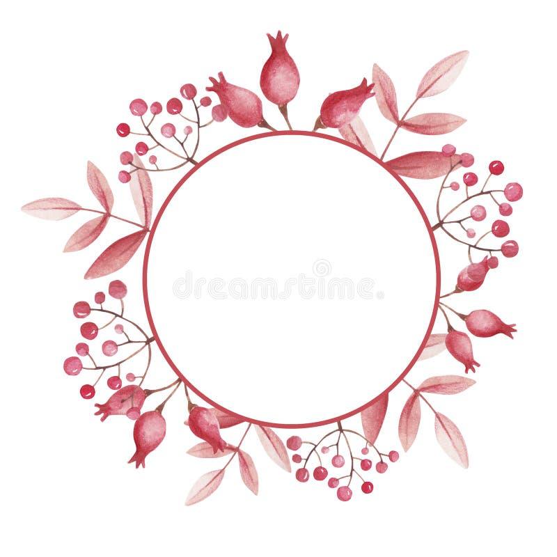Rund ram för lagerförsäljning Vattenfärg med rosa höfter och bergaskaen stock illustrationer