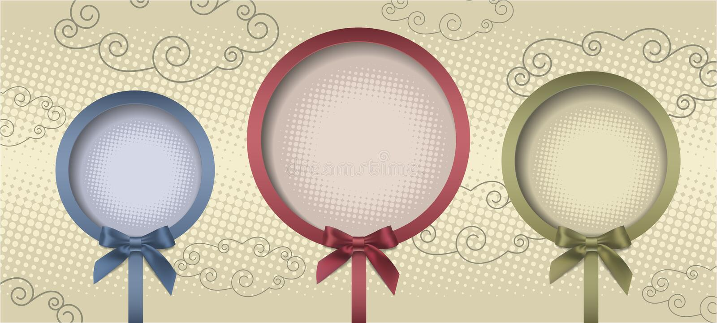Rund ram för tre tappning med pilbågen vektor illustrationer