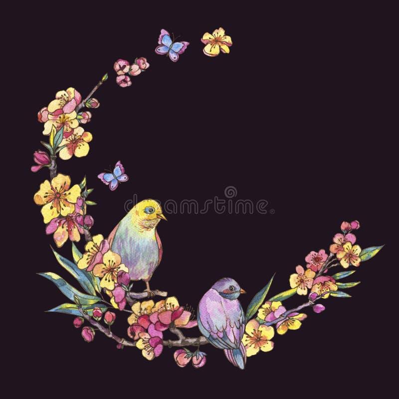 Rund ram för vattenfärgvår, blom- krans för tappning med fåglar royaltyfri illustrationer