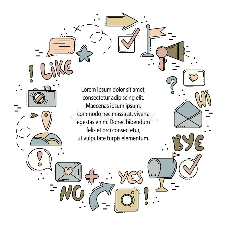 Rund ram för vektor med linjen symboler Sociala nätverk, internet, moderna teknologier Knappar och pekare Ställe för din text vektor illustrationer