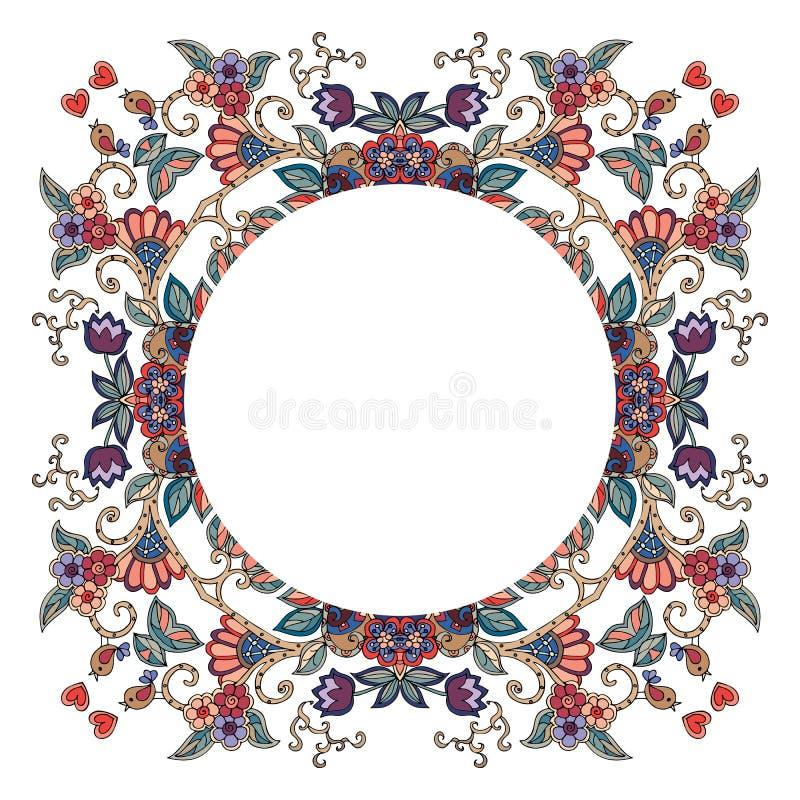Rund ram med blommor, hjärtor och fåglar på vit bakgrund royaltyfri illustrationer