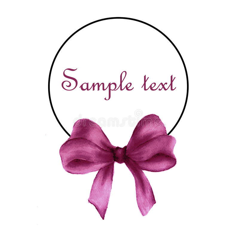 Rund ram med den rosa gåvapilbågeteckningen och ställe för text stock illustrationer