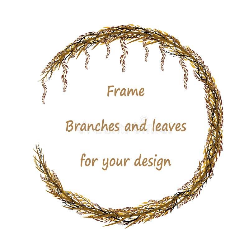 Rund ram med filialer och sidor royaltyfri illustrationer