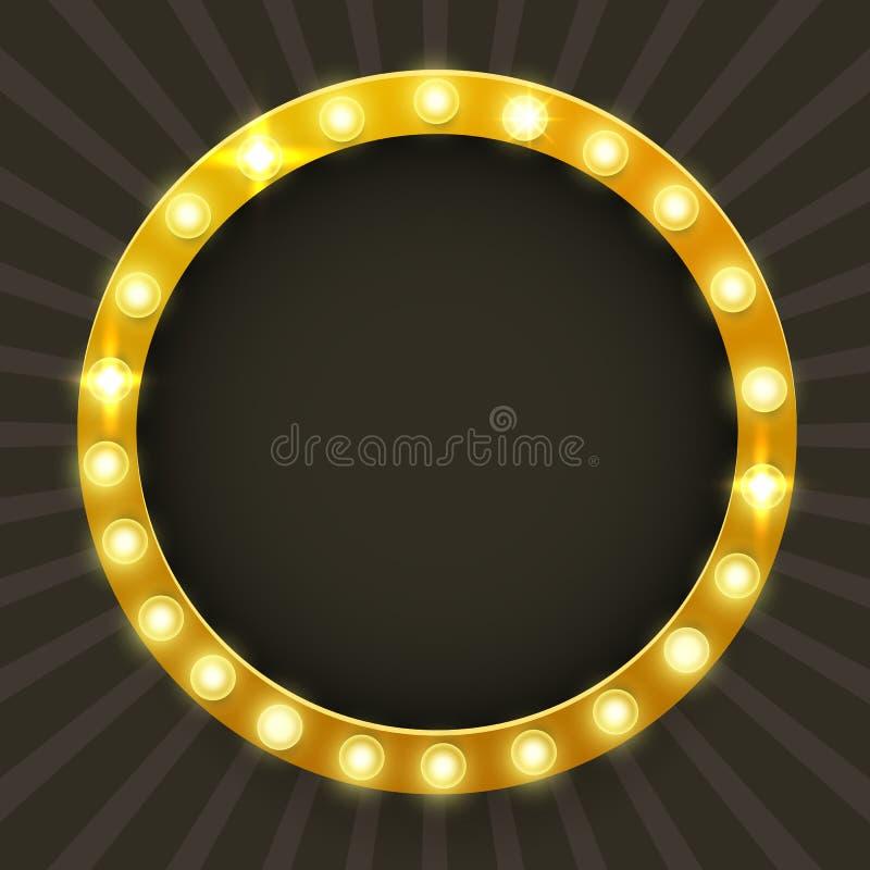 Rund ram med glödande skinande ljusa kulor, vektorillustration Glänsande partibaner Skylt med lampgränsen för lotteri, royaltyfri illustrationer
