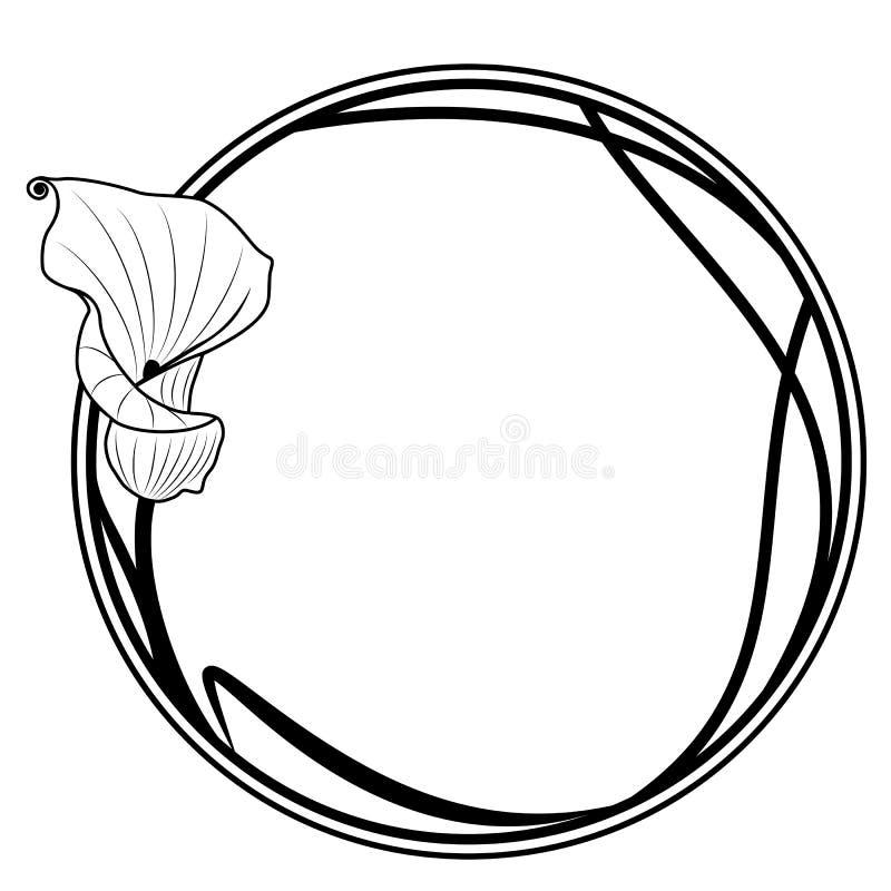 Rund ram med liljan royaltyfri illustrationer