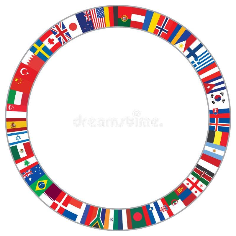 Rund ram som göras av världsflaggor royaltyfri illustrationer