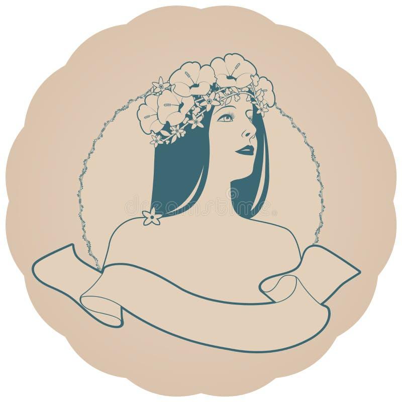 Rund retro etikett med den nätta flickan som dekoreras med blommor och det tomma textbanret tappning f?r stil f?r illustrationlil royaltyfri illustrationer