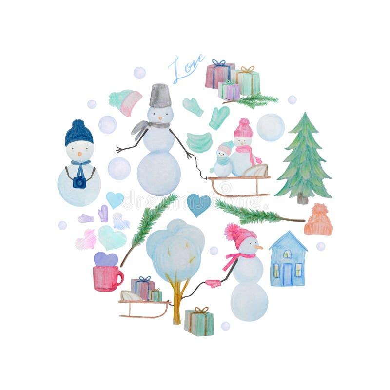 Rund sammansättning för vinter av snögubbear som dras med kulöra vattenfärgblyertspennor stock illustrationer